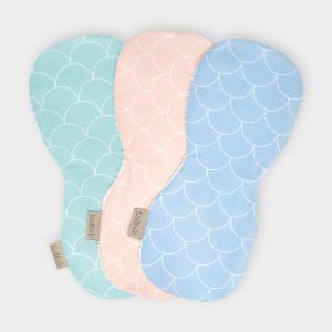 KraftKids Spucktuch weiße Halbkreise auf Pastelblau und weiße Halbkreise auf Pastelrosa und weiße Halbpreis auf Pastelmint 3er Set Pastel Halbkreise