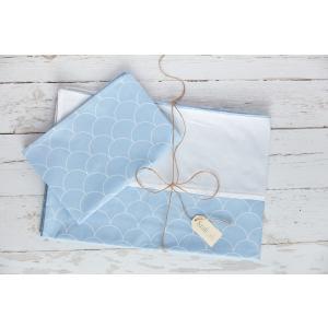 KraftKids Bettwäscheset Uniweiss und weiße Halbkreise auf Pastelblau 100 x 135 cm, Kissen 40 x 60 cm