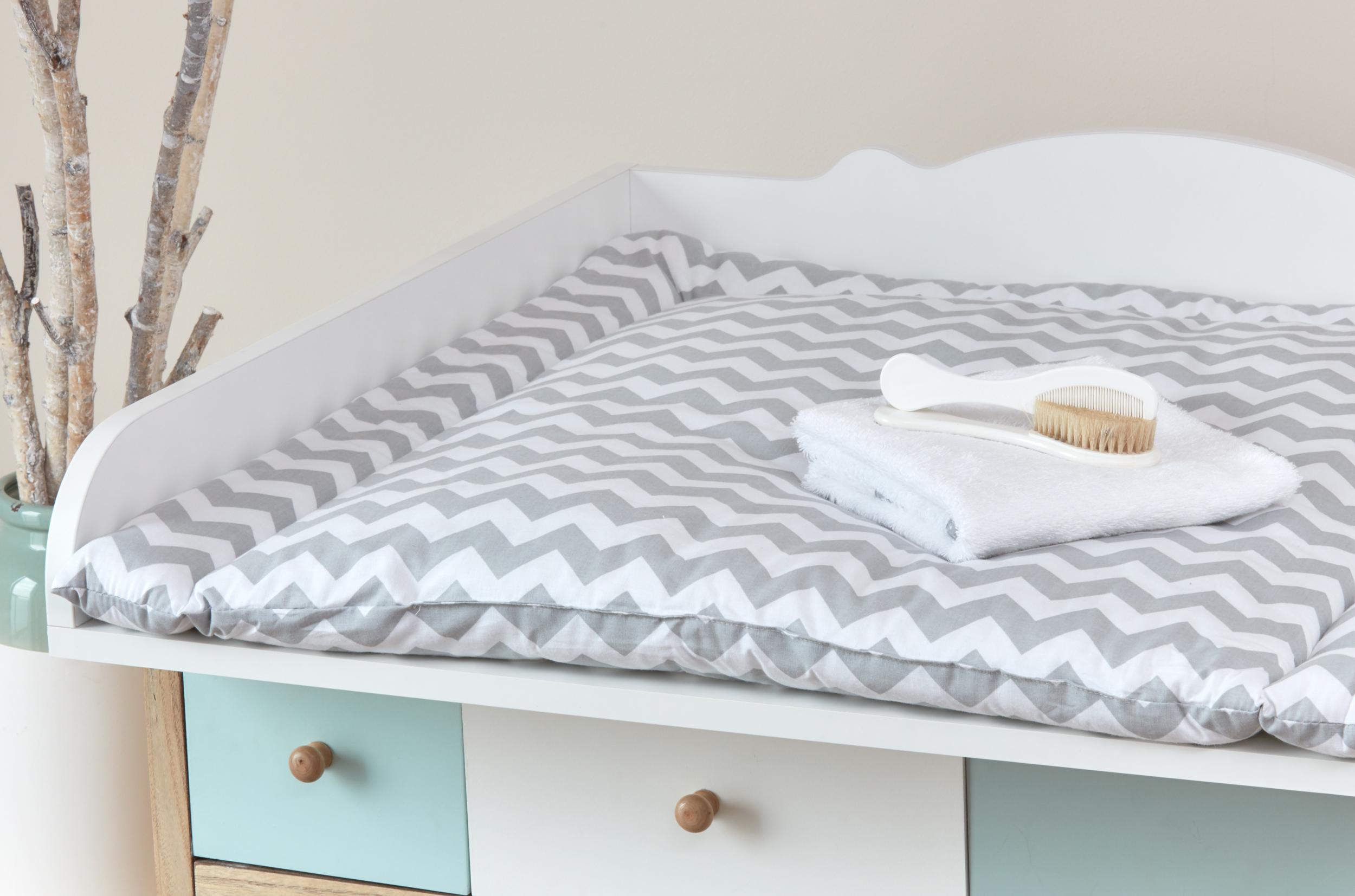 Kraftkids wickelauflage chevron grau breit 75 x tief 70 cm for Sofa 70 cm tief